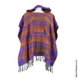 Purple-Multi-Acrylic-Striped-Poncho