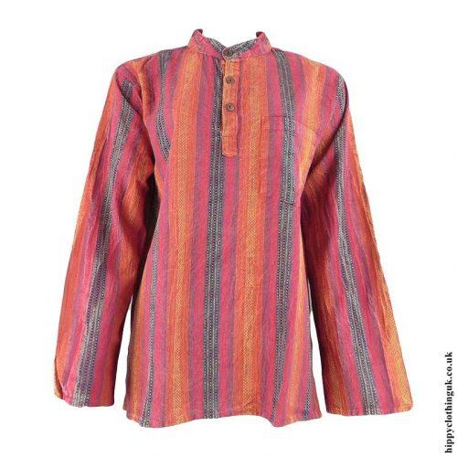 Red-Collarless-Hippy-Grandad-Shirt