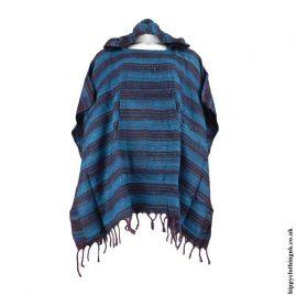 Teal-Acrylic-Striped-Poncho