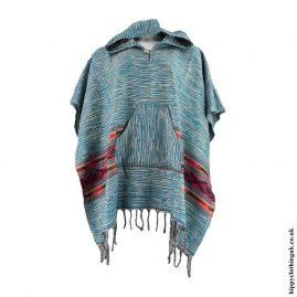 Teal-Acrylic-Wool-Hooded-PonchoTeal-Acrylic-Wool-Hooded-Poncho