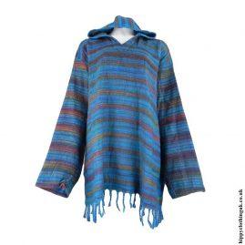 Turquoise-Acrylic-Wool-Hooded-Top