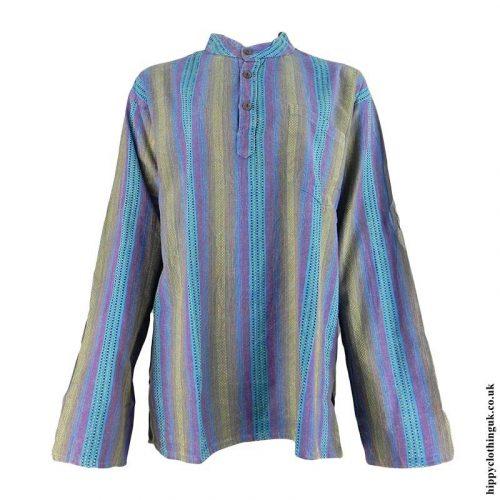 Turquoise-Collarless-Hippy-Grandad-Shirt
