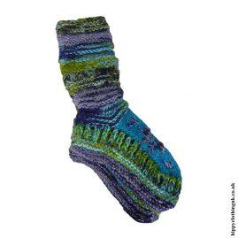 Turquoise-Long-Fleece-Lined-Wool-Socks