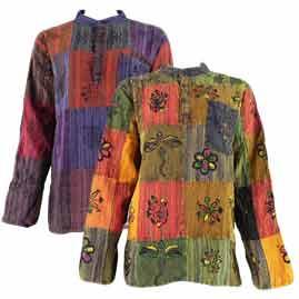 Multicoloured Patchwork Cotton Grandad Shirt