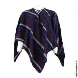 Multicoloured-Striped-Acrylic-Wool-Poncho