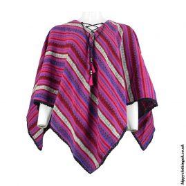 Pink-Striped-Acrylic-Wool-Poncho