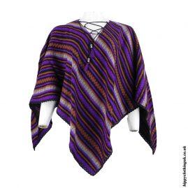 Purple-Striped-Acrylic-Wool-Poncho