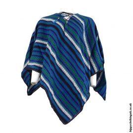 Teal-Striped-Acrylic-Wool-Poncho