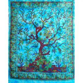 Turquoise-Tree-of-Life-Cotton-Throw