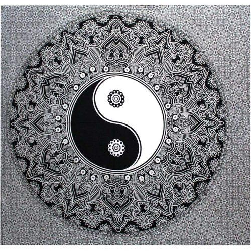 Black-Yin-Yang-Throw,-Wall-Hanging,-Bed-Spread