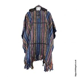 Blue-Cotton-Thick-Weave-Hippy-Poncho