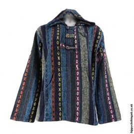 Blue-Mix-Thick-Weave-Hooded-Jacket-1