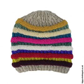 Multicoloured Wool Fleece Lined Beanie Hat