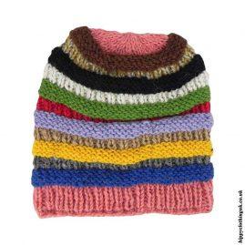 Multicoloured Wool Fleece Lined Beanie Hat