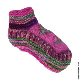 Pink-Fleece-Lined-Wool-Socks
