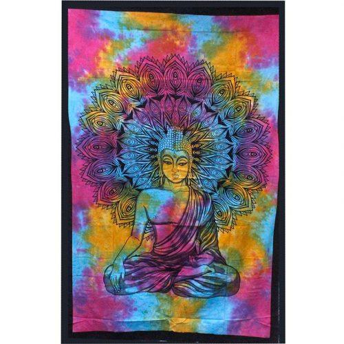 Tie-Dye-Buddha-Throw,-Wall-Hanging,-Bed-Spread