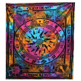 Tie-Dye-Cycle-of-Ages-Throw,-Wall-Hanging,-Bed-Spread
