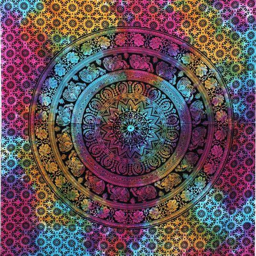 Tie-Dye-Elephant-Mandala-Throw,-Wall-Hanging,-Bed-Spread