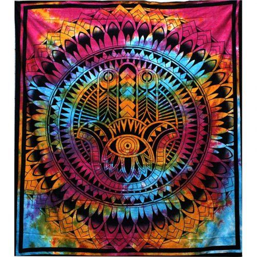 Tie-Dye-Hamsa-Hand-Throw,-Wall-Hanging,-Bed-Spread