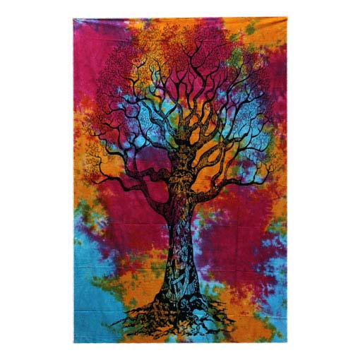 Tie-Dye-Tree-of-Life-Throw,-Wall-Hanging,-Bed-Spread