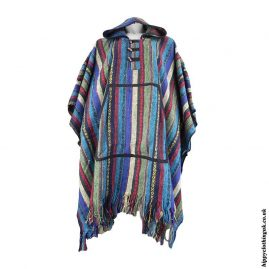 Turquoise-Cotton-Thick-Weave-Hippy-Poncho
