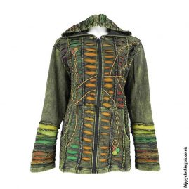 1Green-Ripped-Look-Embroidery-Hooded-Jacket