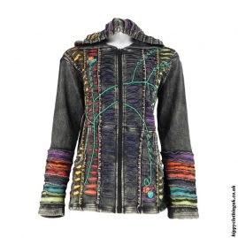 Charcoal-Ripped-Look-Embroidery-Hooded-Jacket