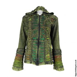 Green-Ripped-Look-Embroidery-Hooded-Jacket