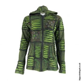 Green-Ripped-Look-Embroidery-Jacket