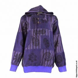 Purple-Over-dyed-Patchwork-Hooded-Hippy-Shirt