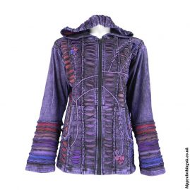 Purple-Ripped-Look-Embroidery-Hooded-Jacket