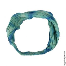 Turquoise-Tie-Dye-Elasticated-Hippy-Hairband,-Headband