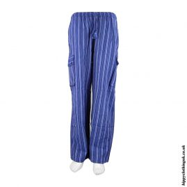 Blue Striped Cotton Hippy Trousers