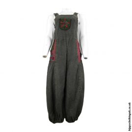 Charcoal-Dungarees-with-Flower-Design