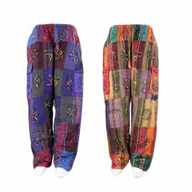 Thick Cotton Patchwork Trousers