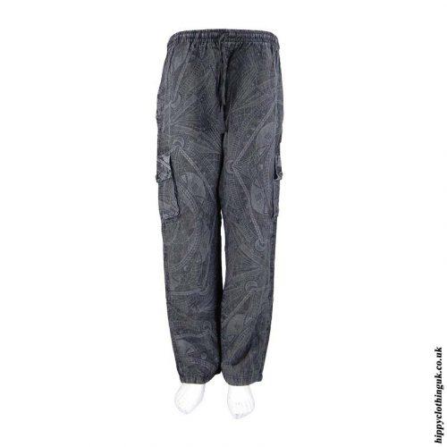 Charcoal-Geometric-Pattern-Cargo-Trousers