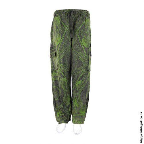 Green-Geometric-Pattern-Cargo-Trousers