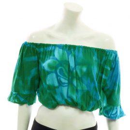Green-Batik-Flower-Bardot-Top