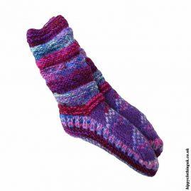 Purple-Long-Fleece-Lined-Wool-Socks