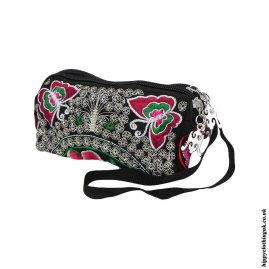 Triple-Pocket-Embroidered-Purse-Red